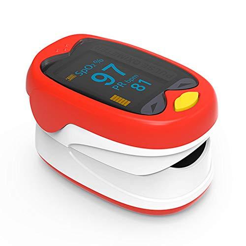 ACC Kinder Puls Fingertip Blutsauerstoffmonitor Oximeter, USB Sauerstoffsättigungsmonitor Spo2 Oximeter Led-Anzeige, Geeignet für Kinder, Neugeborene,Red -