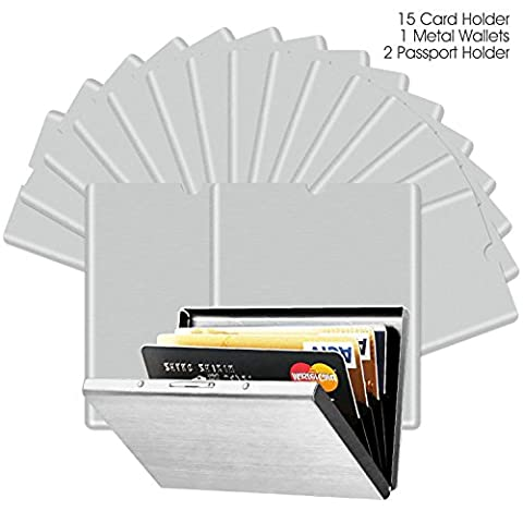 Almondcy Ultra Thin Aluminum Metal Wallets and RFID Blocking Sleeves (15 Credit Card & 2 Passport Protectors) Best Protection Travel Case Set, Smart Holders Fit Wallet and Purse For Men & Women