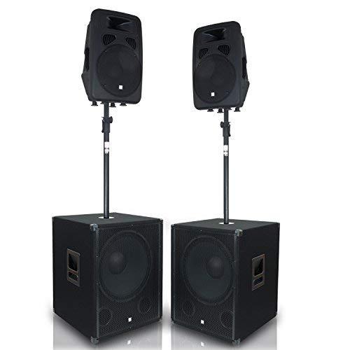 "eSmart Germany Soundsystem HSR D312A-D210P | Aktiv 46 cm (18\"") | 6.000 W | PA Lautsprecher mit Subwoofer inklusive Distanzstangen - KRAFTVOLLE Stereo-KLANGQUALITÄT"