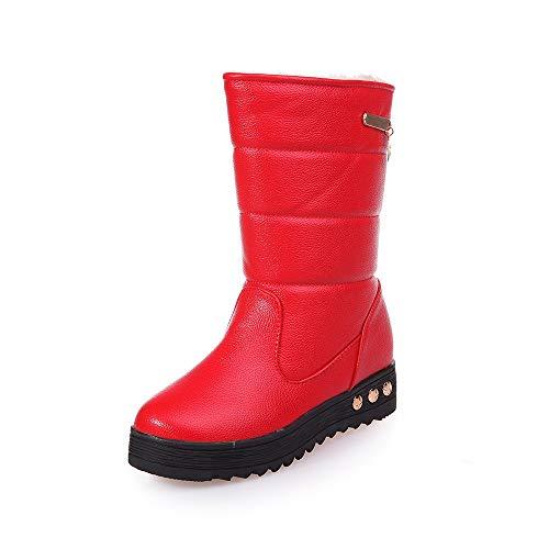 cinnamou Damen-Schnee-Aufladungs-Leder-Wasserdichte Winter-warme -Schnee-Stiefel Runde Zehe-Schuhe