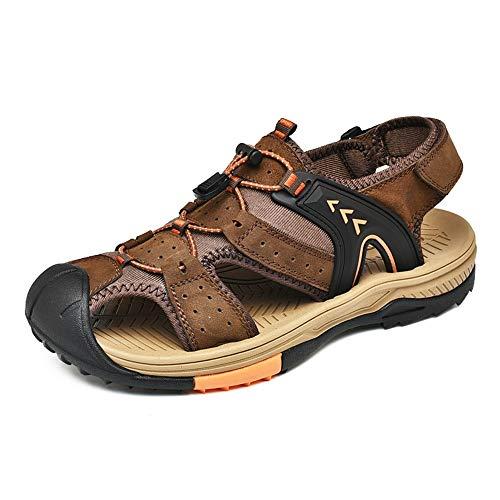 HHF Flache Sandalen und Hausschuhe, Outdoor Wasser Sandalen für Männer, Slip On Style OX Leder Schuhe Klettverschluss Hohl Flexible Elastic Decor (Color : Braun, Größe : 43 EU) (Leder Größe Aus Für 15 Männer Sandalen)