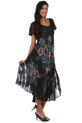 Sakkas Robe Coton Floral Brodé Peint Mancheron Noir