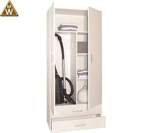 staubsaugerschrank mehrzweckschrank wei 80 x 178 x 39cm k che haushalt. Black Bedroom Furniture Sets. Home Design Ideas