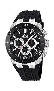 Reloj cronógrafo Lotus 15801/3 de cuarzo para hombre con correa de caucho, color negro