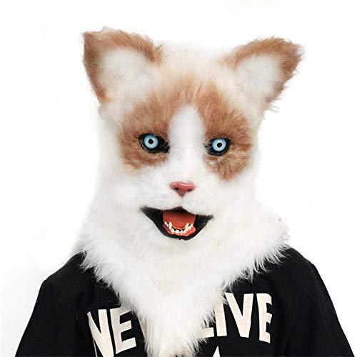 Zwei Jugend Der Kostüm Gesicht - WENQU Maske neue Katze-Plüsch-Full Face Hood Zwei Yuan Art-Dämon-Katze Cunning Rummy Mund bewegen kann Cosplay (Color : 2, Size : One size)