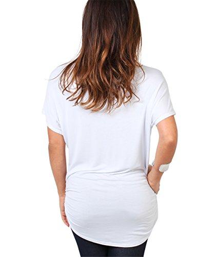 KRISP Damen T-Shirt Longtop Schmetterling Glitzer Top Weiß (3988)