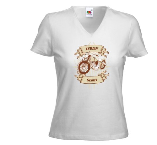 Biker Damen T-Shirt Indian Scout weiß Oldschool Custom Weiß
