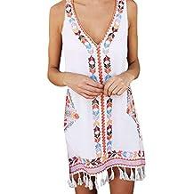 LEEDY_Vestido De Verano De Bohemia para Mujer, con Borla Y Estampado Informal, Mini Vestido