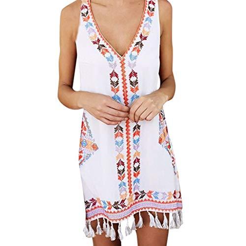 Armfer Badeanzug Damen Sommer Tankkleid mexikanisch ärmellos V-Ausschnitt kniehoch Tribal Boho Minikleid Quaste L weiß (Kleid Off-weißen Tee-länge)