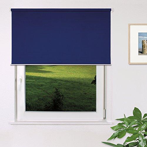 Fensterdecor Fertig Verdunkelungs-Rollo, Sonnenschutz-Rollo zum Abdunkeln von Räumen, Blickschutz-Rollo in Blau, lichtundurchlässig und Blickdicht, 160 x 180 cm