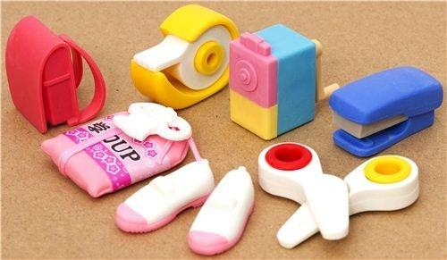 Set de 7 gomas de borrar, material escolar rosa, de Iwako