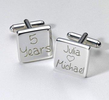 Happy Years Manschettenknöpfe quadratisch, mit persönlicher Gravur, Geschenk für ihn, persönliche Geschenk,