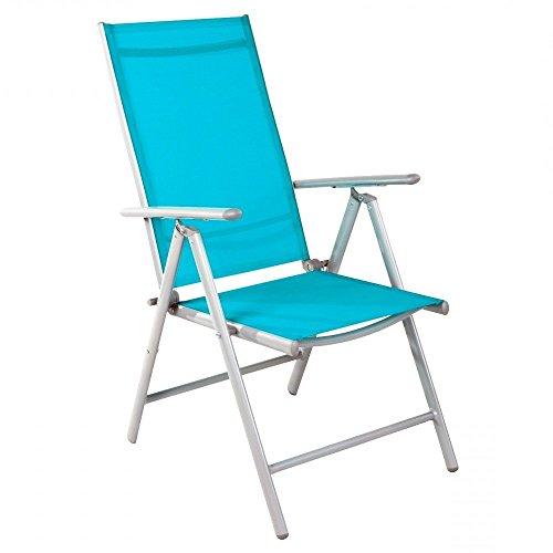 Linder Exclusiv GmbH Fauteuil Pliant 7 Positions avec Cadre en Aluminium et revêtement Textile 54 x 64 x 106 cm – Bleu pétrole