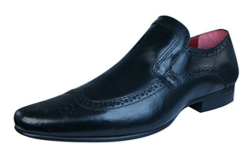 Red Tape Malago hommes en cuir Brogues / Chaussures Black