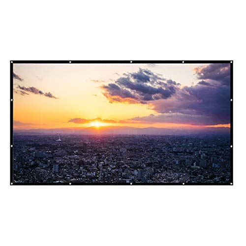 HENGMEI 84 Zoll Tragbare Beamer Leinwand Projektions Leinwand Projektionsfläche Format 16:9 Full HD 3D, für Heimkino,Business PPT-Präsentation,Outdoor (84 Zoll) -