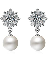 Sukkhi Crystals from Swarovski Drop Down Platinum Plated Earring for Women and Girls (E80951)