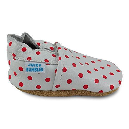 Juicy Bumbles - Chaussures Bébé - Chaussons Bébé Cuir Souple - Baleine - 18-24 Mois Pois Rouges