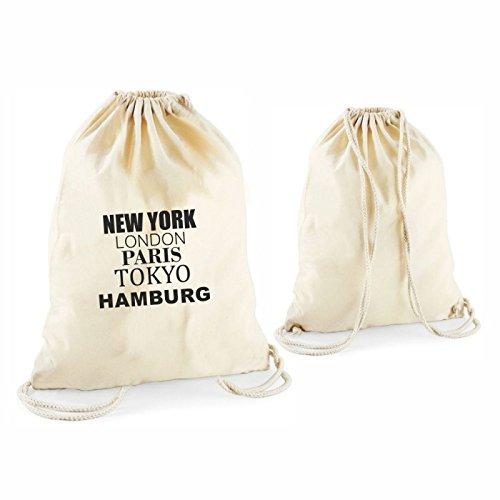 Geschenkartikel Statement Turnbeutel 37 x 46 cm New York, London, Paris, Tokyo, Hamburg Maritim Deko...