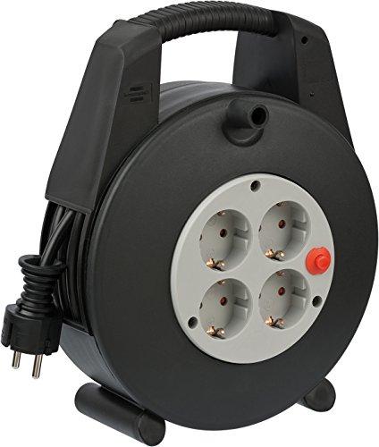 Brennenstuhl 1094200 Vario Line Box de câble 4 prises 10m, Noir/gris Clair, 15 m