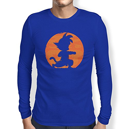 NERDO - Goku Fighting Pose - Herren Langarm T-Shirt Marine