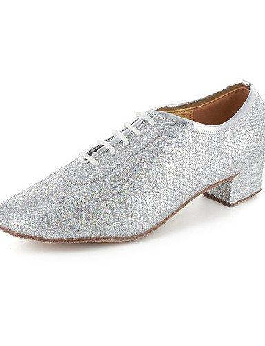 La mode moderne Non Sandales femmes personnalisables Chaussures de Danse Modern/bal/pratique en simili cuir chaussures talon Argent/Gris US8/EU39/UK6/CN39