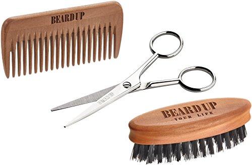 Beard Up Bartpflege Set I Kamm, Bürste, Schere, E-Book I Bart Styling I Bartöl Auftragen I Antistatisch I Wildschweinborsten I Männergeschenk