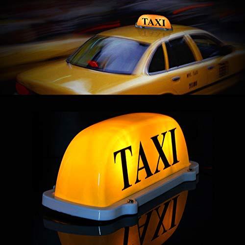 Grande taille 12 V pour voiture, taxi, compteur de voiture, plafonnier, panneau de toit, ampoule à base magnétique, couleur jaune, avec chargeur de cigarette et câble de 3 m de long.