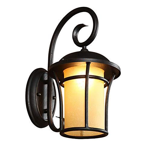 QZFH Indoor-und Outdoor wasserdichte Wandlampe, Eisen und Glas Lampen-Körper-Safe In Gartenlampe, Anti-Oxidation Paint Process, 220V Schwarz/Gold