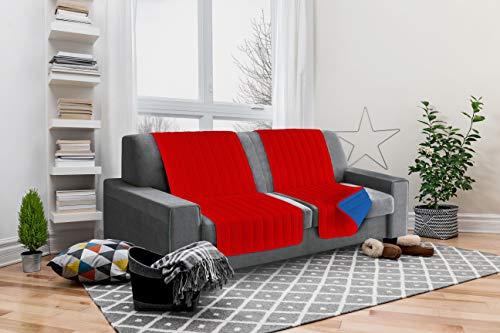 Italian bed linen seduta fascia copridivano, microfibra, rosso/royal, 190x60x6 cm