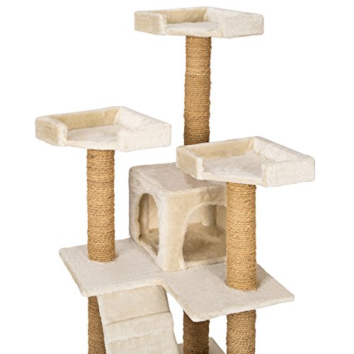TecTake Katzen Kratzbaum Katzenbaum mittelhoch   Stämme komplett mit Kokosseil umwickelt   2 Höhlen – diverse Farben – (Beige   Nr. 402190) - 5