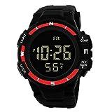 Herren Sport Chenang Outdoor Wasserdicht Sportuhr mit Wecker/Timer Big Face Military Digital Armbanduhren mit LED Hintergrundbeleuchtung Uhren für Lauf Herren Schwarz