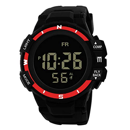Herren Sport Chenang Outdoor Wasserdicht Sportuhr mit Wecker/Timer Big Face Military Digital Armbanduhren mit LED Hintergrundbeleuchtung Uhren für Lauf Herren Schwarz