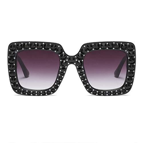 WYJW Sonnenbrille Mädchen übergroßen quadratischen Kristall Strass dicken Rahmen