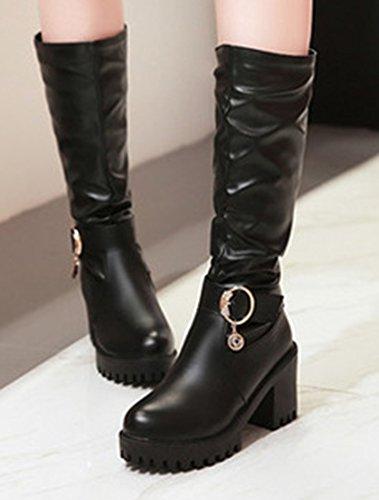 Aisun Femme Mode Hautes Mollet Talon Bloc Cuissardes Bottes Noir