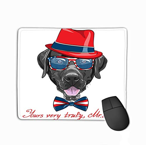 Mouse Pad Funny Cartoon Black Dog Breed Labrador RETR Portrait Close up Smiling Retriever Rectangle Rubber Mousepad 11.81 X 9.84 Inch -