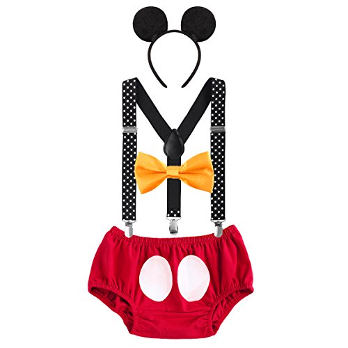 Säugling Baby Jungen Mädchen Mickey Mouse 1. / 2./ 3. Geburtstag Halloween Kostüm Outfit Set Unterhose+Fliege + Y-Form Hosenträger+Maus Ohren 4pcs Bekleidungssets 001 Rot & Polka Dots 6-12 Monate (Halloween-kostüme 3 6 Monate)