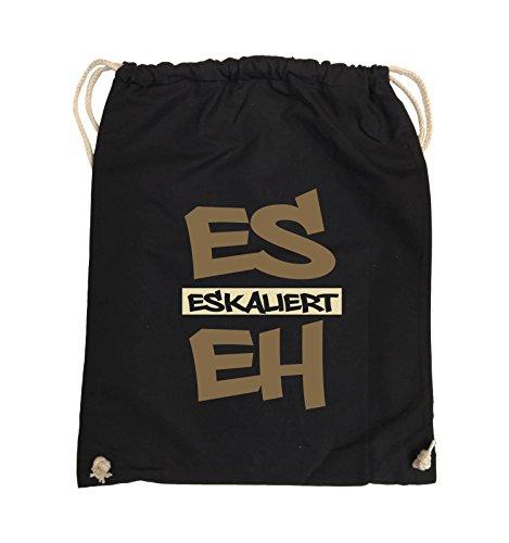 Comedy Bags - Es eskaliert eh - GRAFFITI - Turnbeutel - 37x46cm - Farbe: Schwarz / Weiss-Neongrün Schwarz / Hellbraun-Beige