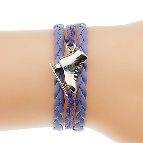 IJEWALRY Damenarmband Armbänder Armband,Mode Persönliche Elegante 5 Farben Antike Silber Eiskunstlauf Schuhe Charme Freundschaft Geschenke Lederarmbänder Für Frauen Schlittschuhe Schmuck
