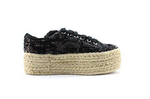 Jeffrey Campbell ZOMG JUTE Chaussures Compensées Femme Fibres Textiles Noir 41