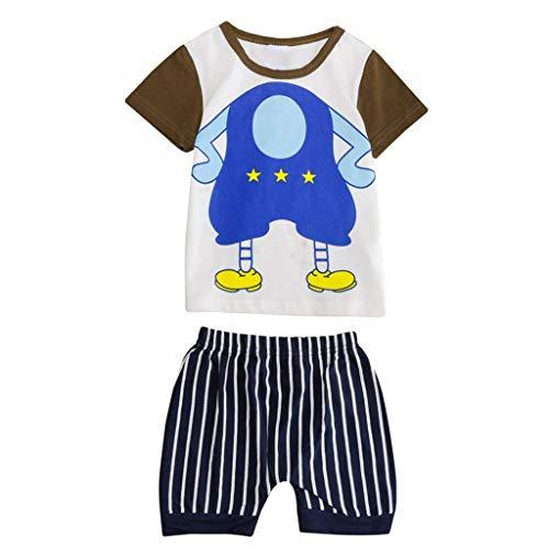 JUTOO Neugeborenes Baby Jungen Mädchen Kurzarm Cartoon Tops Shirt + Pants Outfits Set (Gelb 1,90)