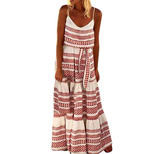 MAYOGO Kleid Damen Sommer Bodenlang Große Größen Boho Gestreift Spagettiträger Maxikleid Rückenfrei Sexy Urlaub Casual Sommerkleid