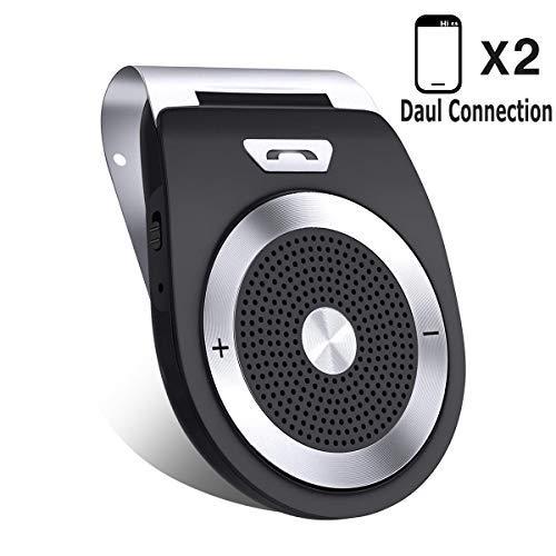 Bluetooth Ausrüstung 4.1 Kfz Freisprecheinrichtung Bluetooth Auto Freisprechanlage Visier Car Kit mit Mikrofon, Unterstützt GPS, Musik, Handsfree für 2 Telefone gleichzeitig