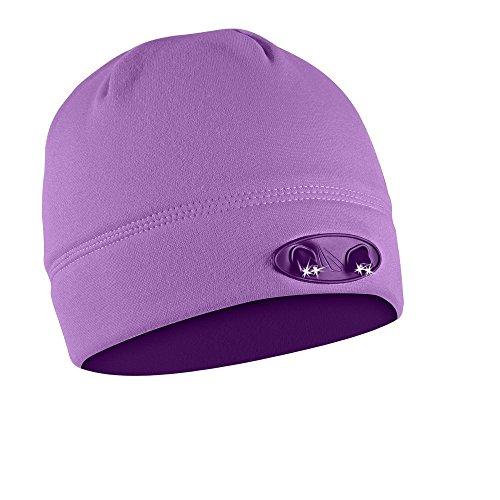 POWERCAP Beanie 4 LED leuchtende Beanie Mütze Ladies (flieder) - freihändiges Licht - praktisch zum Laufen, Jagen, Camping, Joggen, Grillen, SKI (Licht Camping-womens)