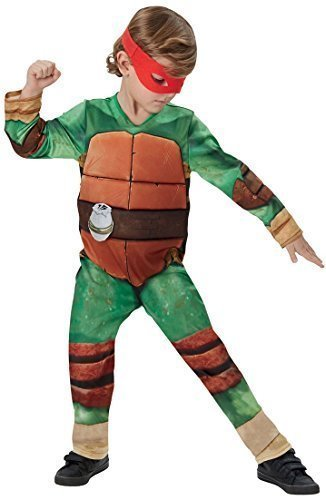 Mutant Ninja Turtles + 4 Masken Buch Tag Woche Cartoon Comic Halloween Kostüm Kleid Outfit - Grün - Grün, Jungen, 122-128, Grün (Halloween-kostüm Teenage Mutant Ninja Turtle)