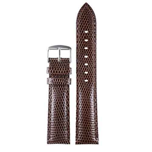 20 mm cinturini fresco marrone scuro premium sostituzioni lucertola grana pelle di vitello leggermente imbottita