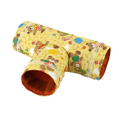 MagiDeal Gelb 3-Weg Spielzeug T-Form Tunnel Klein Schlaf Tunnel Für Meerschweinchen Hamster Kleintier Beige , Lange 29cm