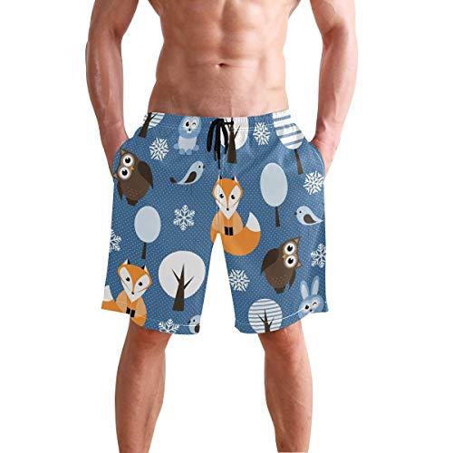 BETTKEN Men's Beach Shorts Animal Fox Bird