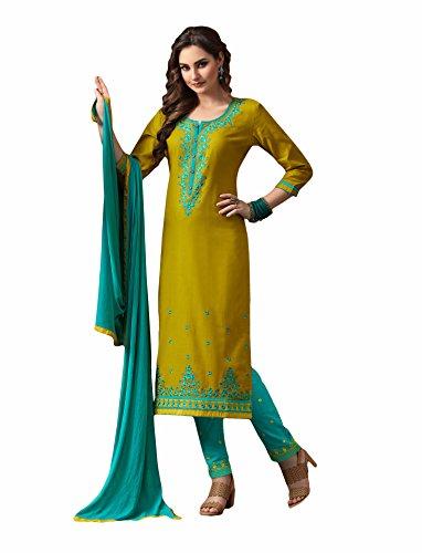 Yellow colour embroidery cotton unstitched Straight churidar cotton-salwar-kameez