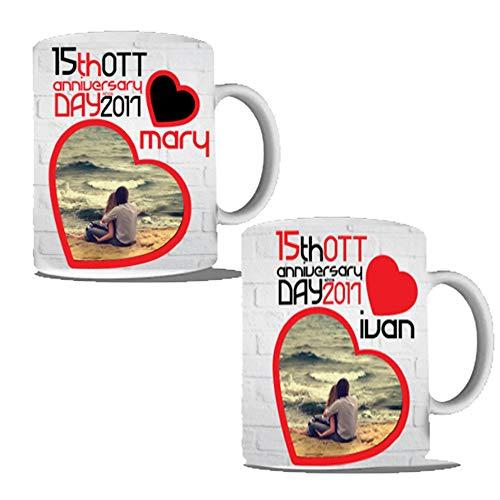 Coppia di tazze per innamorati personalizzate anniversario con data e nomi mug prima colazione breakfast (manico standard)
