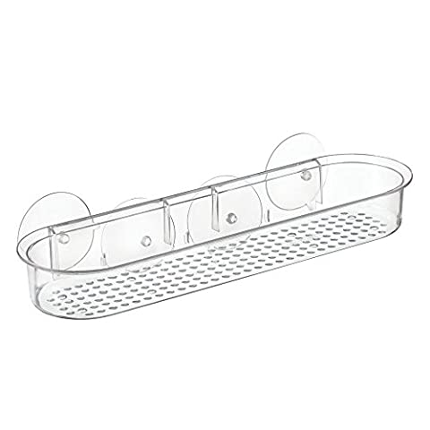 InterDesign Suction Bathroom Shower Caddy for Shampoo, Conditioner, Soap - Clear
